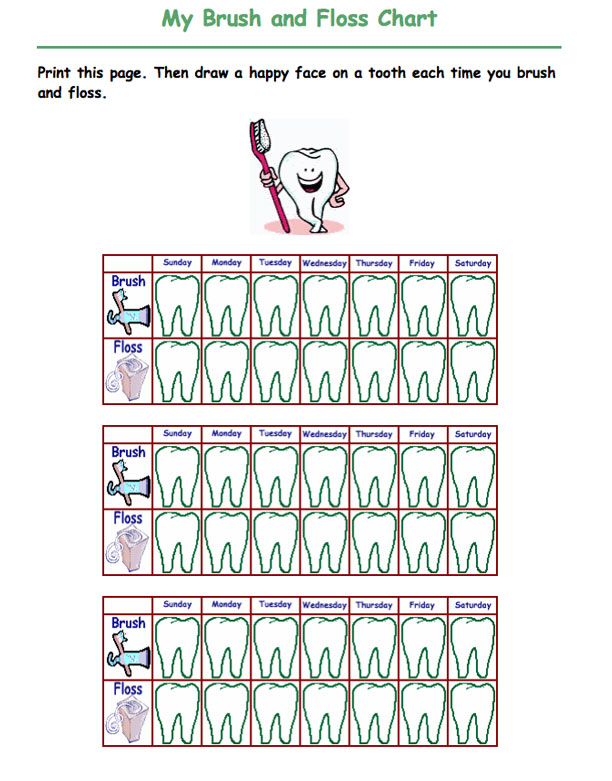 Toothbrushing Chart 2 Motivating Your Child To Brush Their Teeth